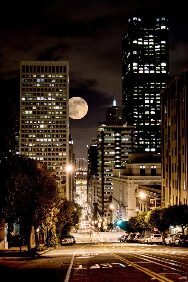 super moon by Steven Haynes Jr - City,  Street & Park  Street Scenes ( moon, street, bridge, glow, san francisco )