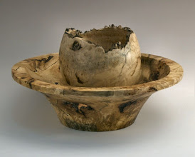 Photo: Stan Welborn - Bowl and vessel showing how they came out of the same block of wood - chestnut