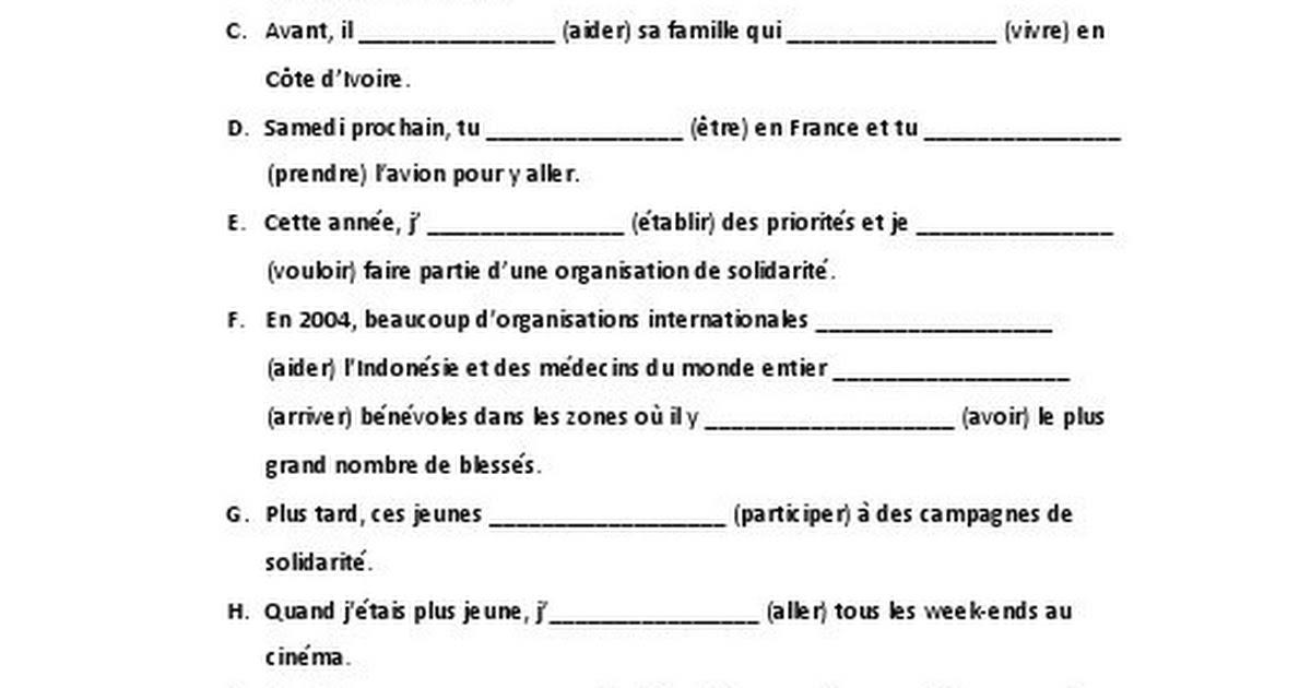 Conjugue Les Verbes Au Temps Qui Convient 9ºano Docx Google Drive