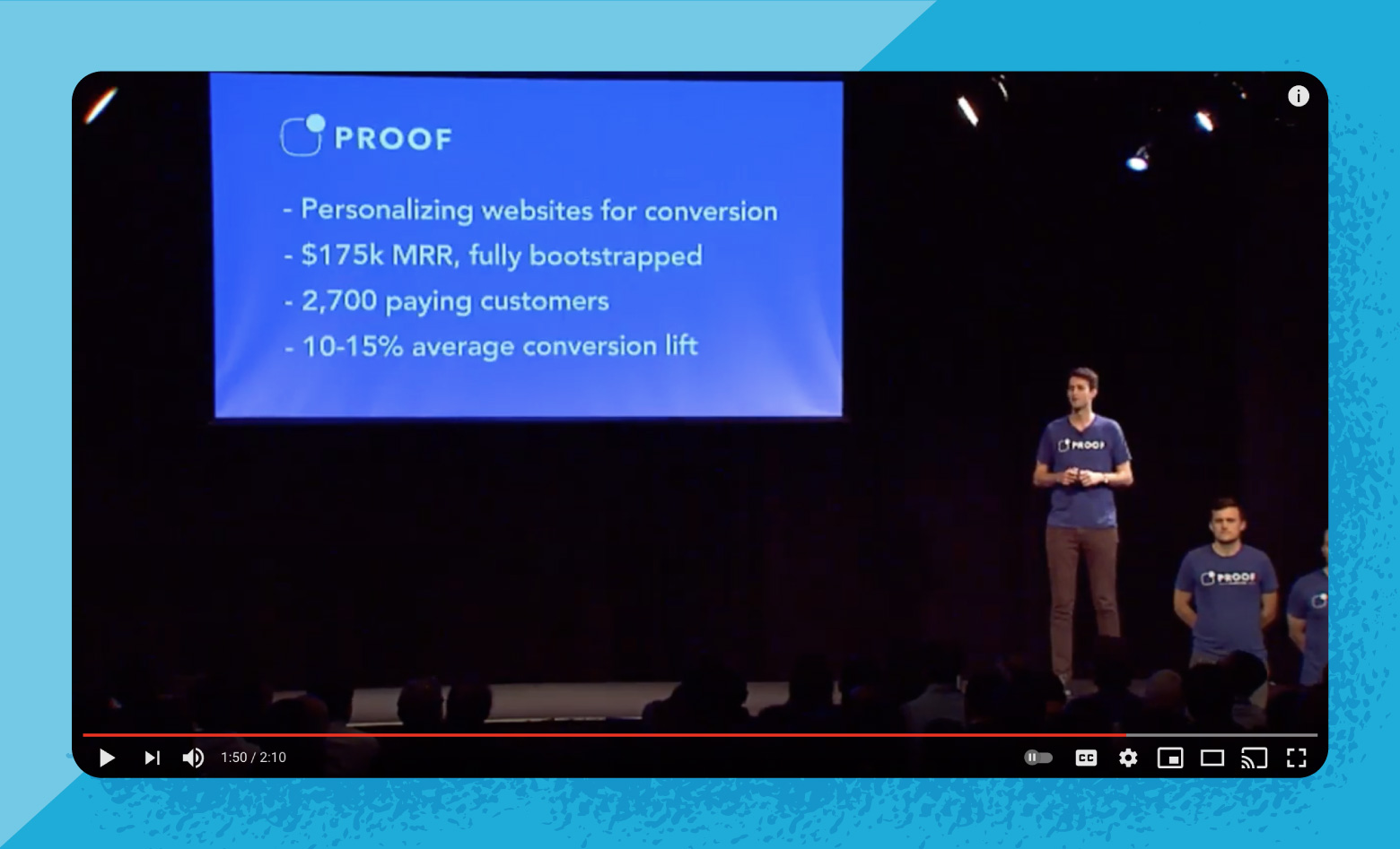 Dave in his 2018 YC demo day business pitch for Proof.