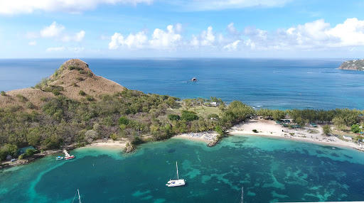 drone-pigeon-island.jpg - The blue Atlantic to the north and turquoise Rodney Bay at Pigeon Island, a national park in the north of St. Lucia.