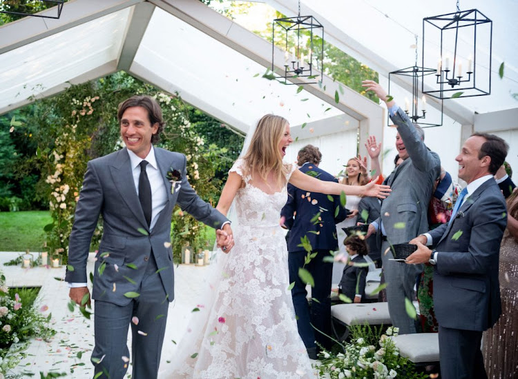 Gwyneth Paltrow and husband Brad Falchuk on their wedding day in September.