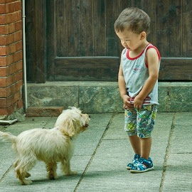 Age of Innocence by Francisco Little - Babies & Children Children Candids ( china, innocence, shy, puppy, street, dog, boy, meeting )