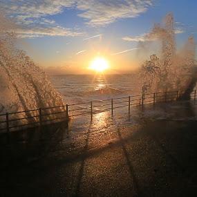 Sunrise and Splash.  by Mark Milham - Landscapes Sunsets & Sunrises ( sunrise broadstairs sea splash wave )