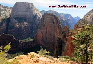 Photo: Angel's Landing - Zion Utah... the write-ups on this hike are daunting with sheer cliff drop-offs on either side of a narrow .5 mile ridge, and only chains to hold onto for safety. Just 5 miles round trip, this hike takes you up 1700ft in 2.5 miles to the 5790ft top of Angel's Landing. Go Virtual hike with us through Refrigerator Canyon, up the 21 switchbacks of Walters Wiggles, and get a REAL feel of what it's like to climb up that narrow cliff ridge to one of the most popular hikes in Zion National Park.