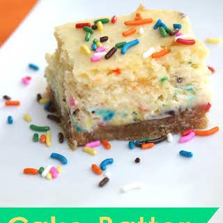 Cake Batter Cheesecake Bars.