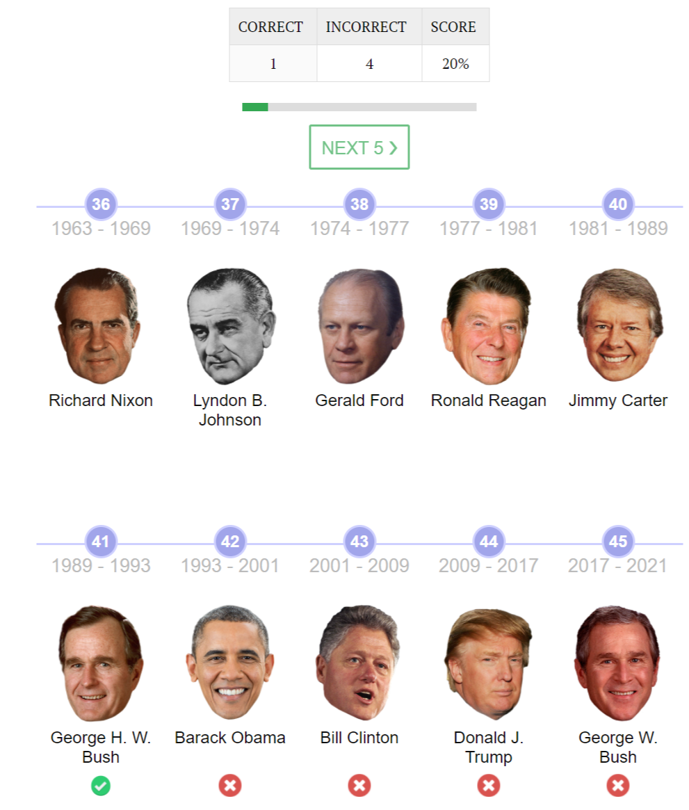 matching quiz with Presidents and timeline