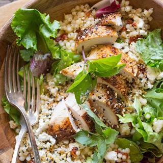 Israeli Couscous Salad With Honey Lemon Vinaigrette.