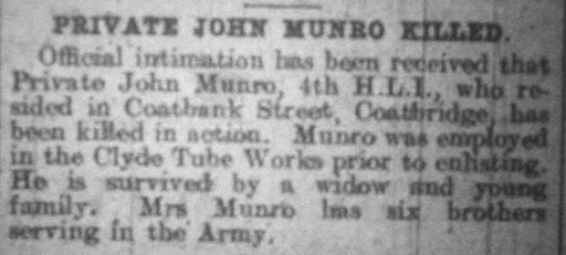 John Munro newspaper clipping