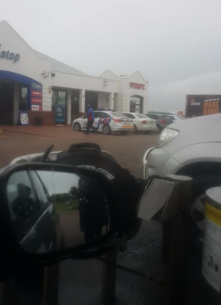 The petrol station where the alleged incident happened.