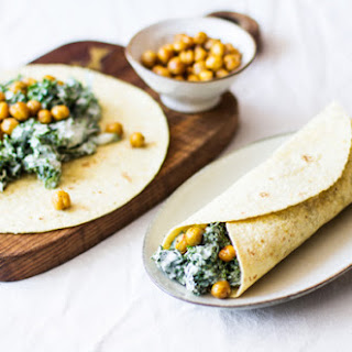 Tortillas with Creamy Kale and Toasted Chickpeas.