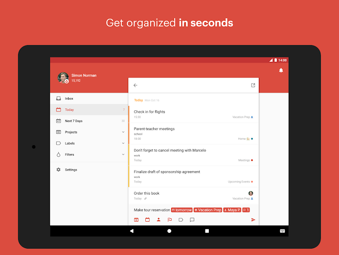Screenshot 5 for Todoist's Android app'