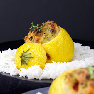 Creamy Chicken stuffed Round Courgettes.