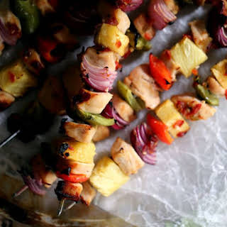 Pineapple Pepper Chicken Kebobs.