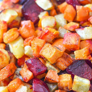 Roasted Beets and Sweet Potatoes.