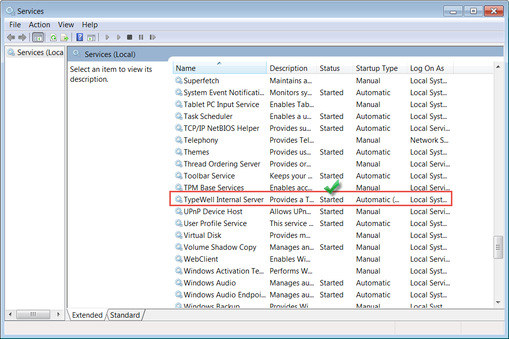 screenshot of Windows Services list showing TypeWell Internal Server is started