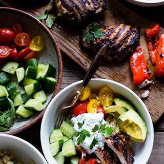 Grilled Greek Souvlaki Bowls with Cauliflower Rice
