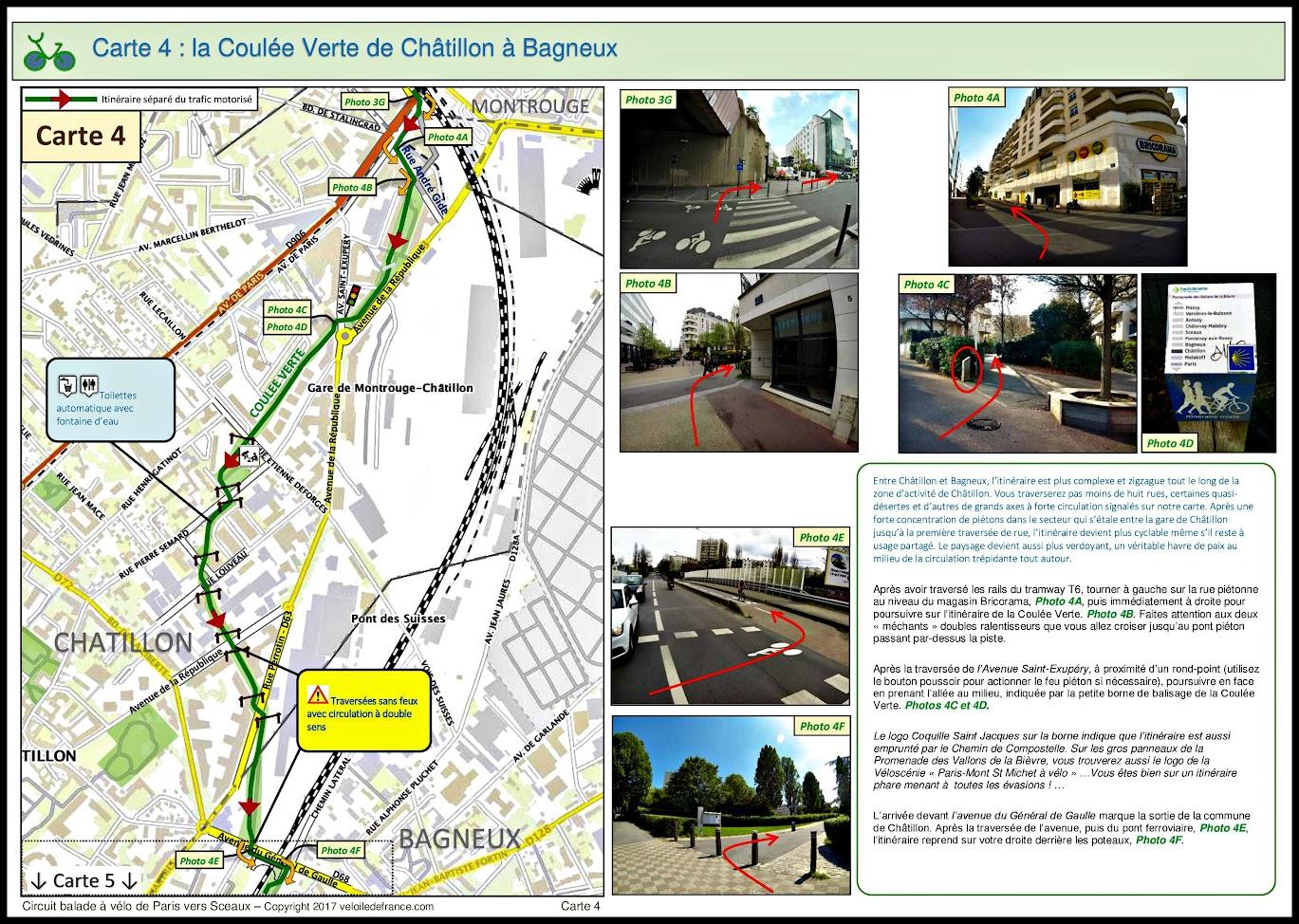 Carte 4 - Circuit à vélo entre Paris et Sceaux, le vallon des poètes par veloiledefrance.com