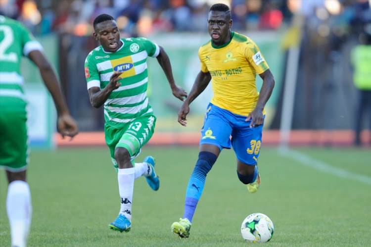 Siyabonga Zulu of Mamelodi Sundowns during the Absa Premiership match between Bloemfontein Celtic and Mamelodi Sundowns at Dr Molemela Stadium on May 12, 2018 in Bloemfontein, South Africa.