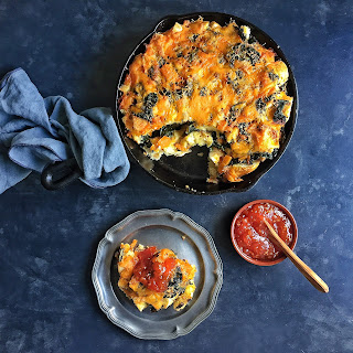 Black Kale, Butternut Squash & Cheddar Strata with Homemade Tomato Jam.