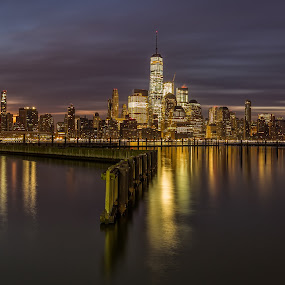 First Light on NYC by Robert Gallucci - City,  Street & Park  Skylines ( newport, long exposure, nyc, sunrise, freedom tower, downtown, new jersey )