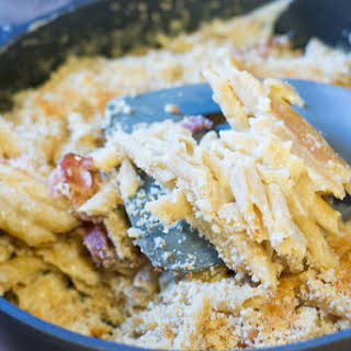One Pot Bacon Three Cheese Penne Pasta.