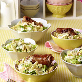 Caesar Pasta Salad with Saltimbocca Rolls.