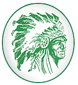 Elk Lake logo green Indian head with beautiful feateher head dress.
