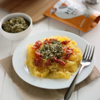 Spaghetti Squash with VEGAN Pesto and Sun-dried Tomatoes