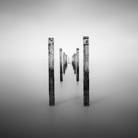 Remaining by Fadly Hj Halim - Landscapes Beaches ( beaches, structure, fadly, b&w, sea, monotone, deep )