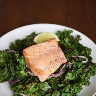 Sheet Pan Salmon With Crispy Kale.