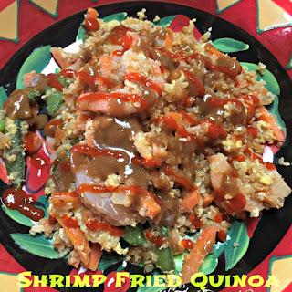 Shrimp Fried Quinoa with Thai Peanut Sauce