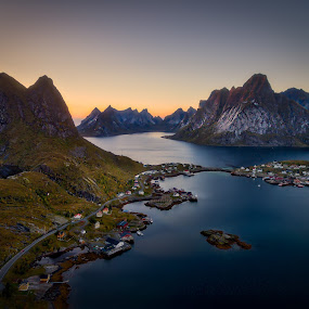 Lofoten from above by Roy Poots - Landscapes Mountains & Hills ( noorwegen, ballstad, hamnoy, reine, norway islands, henningsvaer, lofoten, norway )