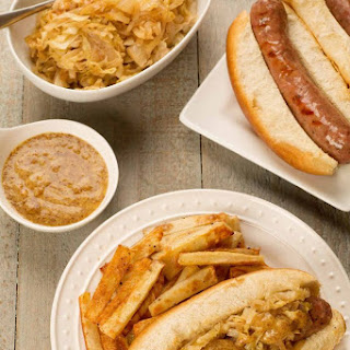 Grilled Bratwurst with SautéEd Sweet Onions and Cabbage Recipe