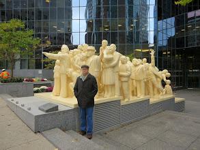 Photo: Matt and the Illuminated Crown sculpture