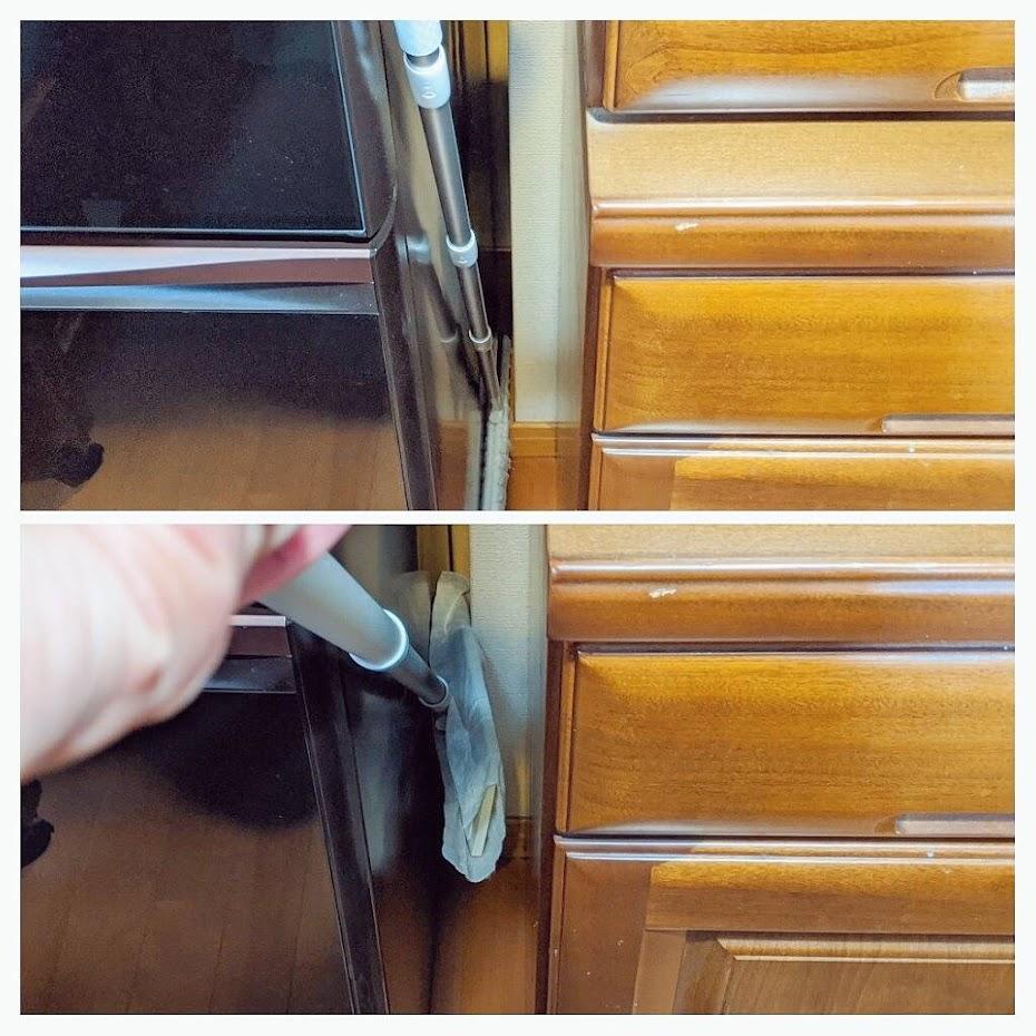 上段はウェーブのヘッドが2.5㎝のすき間にもしっかり入っている画像。下段は無印のヘッドをすき間に入れるが入っていない画像