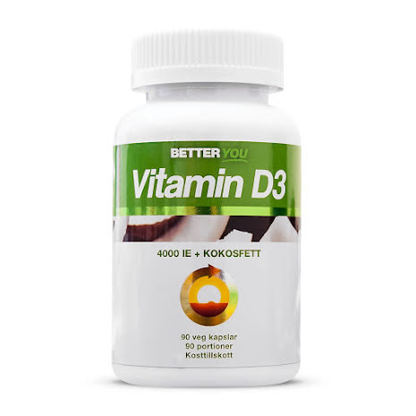 Vitamin D3 4000IE + Kokosolja - 90 kapslar