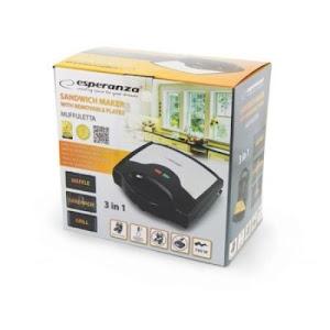 Sandwich Maker 3 in 1, placi interschimbabile, indicatoare LED, Negru/Gri
