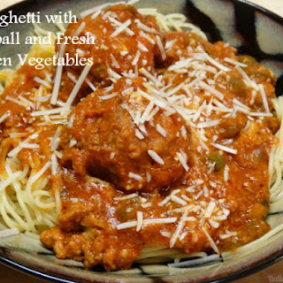 Spaghetti and Meatballs with Fresh Garden Vegetables