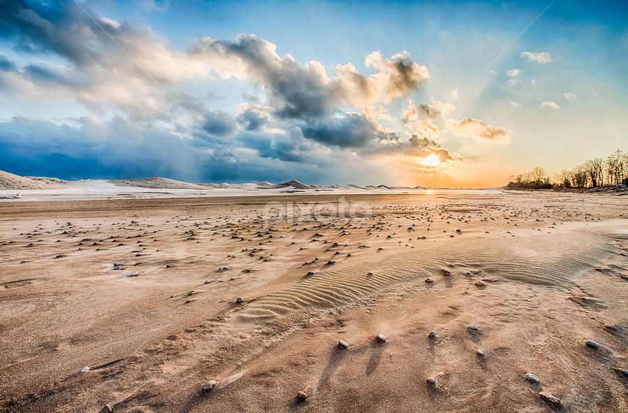Sunrise Over Rock Lake Bed by Trevor Pottelberg - Landscapes Sunsets & Sunrises ( clouds, sand, canada, long point )