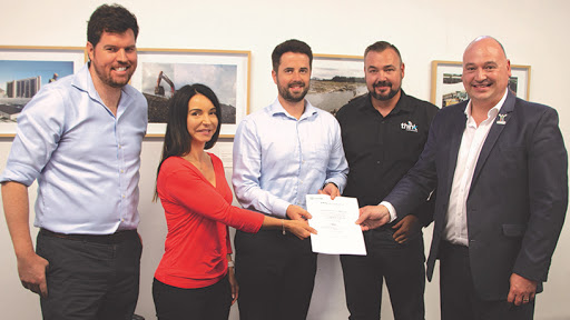 From left: Mike Mulcahy, CEO, GreenCape; Janine Rebelo, CEO, Think WiFi; Jack Radmore, energy programme manager, GreenCape; Marnus Kruger, COO, Think WiFi; and alderman James Vos, mayoral committee member for economic opportunities and asset management, City of Cape Town