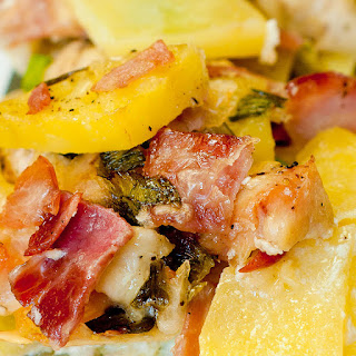Potato and Ham Casserole with Asiago Cheese.