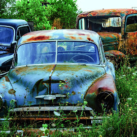 Glowing cars by Roger Carlsson - Transportation Automobiles ( cars, rust, lemon, car, grass, gotland, decay, blue green, scrapbook, petrol pump, roses )
