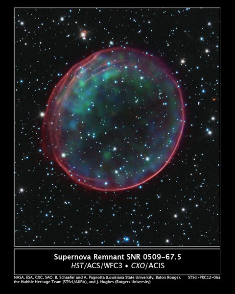 Photo: This image of Type Ia Supernova Remnant 0509-67.5 was made by combining data from two of NASA's Great Observatories. The result shows soft green and blue hues of heated material from the X-ray data surrounded by the glowing pink optical shell, which shows the ambient gas being shocked by the expanding blast wave from the supernova. Credit: NASA, ESA, and B. Schaefer and A. Pagnotta (Louisiana State University, Baton Rouge); Image Credit: NASA, ESA, CXC, SAO, the Hubble Heritage Team (STScI/AURA), J. Hughes (Rutgers University)