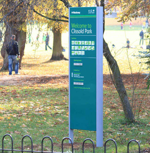 New printed Clissold Park signs, custom made