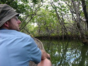Photo: Mick in a pirogue (dug out canoe) in the dense mangroves on the east coast of Isle St Marie