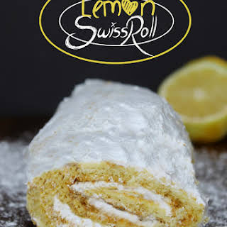 Lemon Swiss Roll with Coconut Cream Frosting.