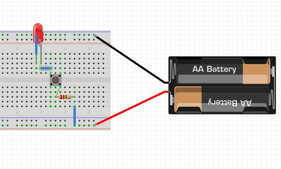 Сборка схемы с двумя подключенными параллельно светодиодами на макетной плате.