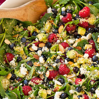 Berry Avocado Quinoa and Kale Salad with Honey-Lime Poppy Seed Dressing