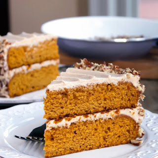 Pumpkin Layer Cake with Cinnamon and Spice Cream Cheese Frosting